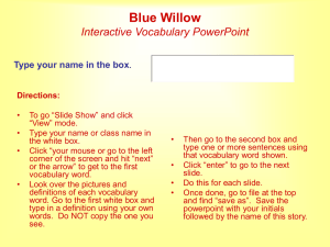 Blue Willow Interactive Vocabulary Link PPT