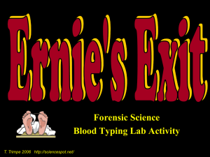 """Ernie's Exit"" Blood Typing Lab - ""Cheap"" Version"