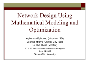 Network Design Using Mathematical and Optimization