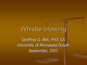 Whistle-blowing - University of Minnesota Duluth