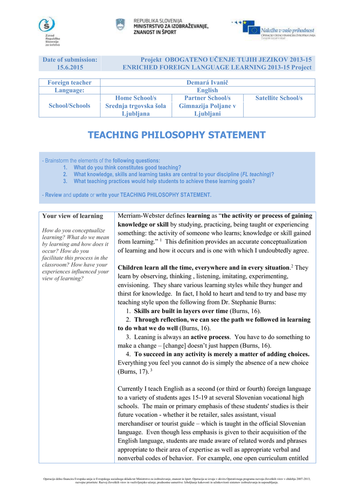 teaching philosophy statement