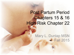 Lecture 5 Post Partum Period 2015 Students