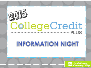 2015 College Credit Plus Information Night