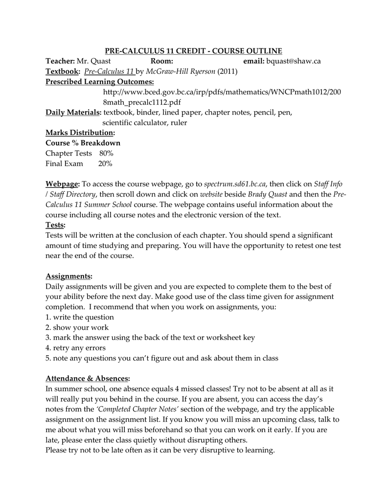 Course Outline - Spectrum Staff Contacts