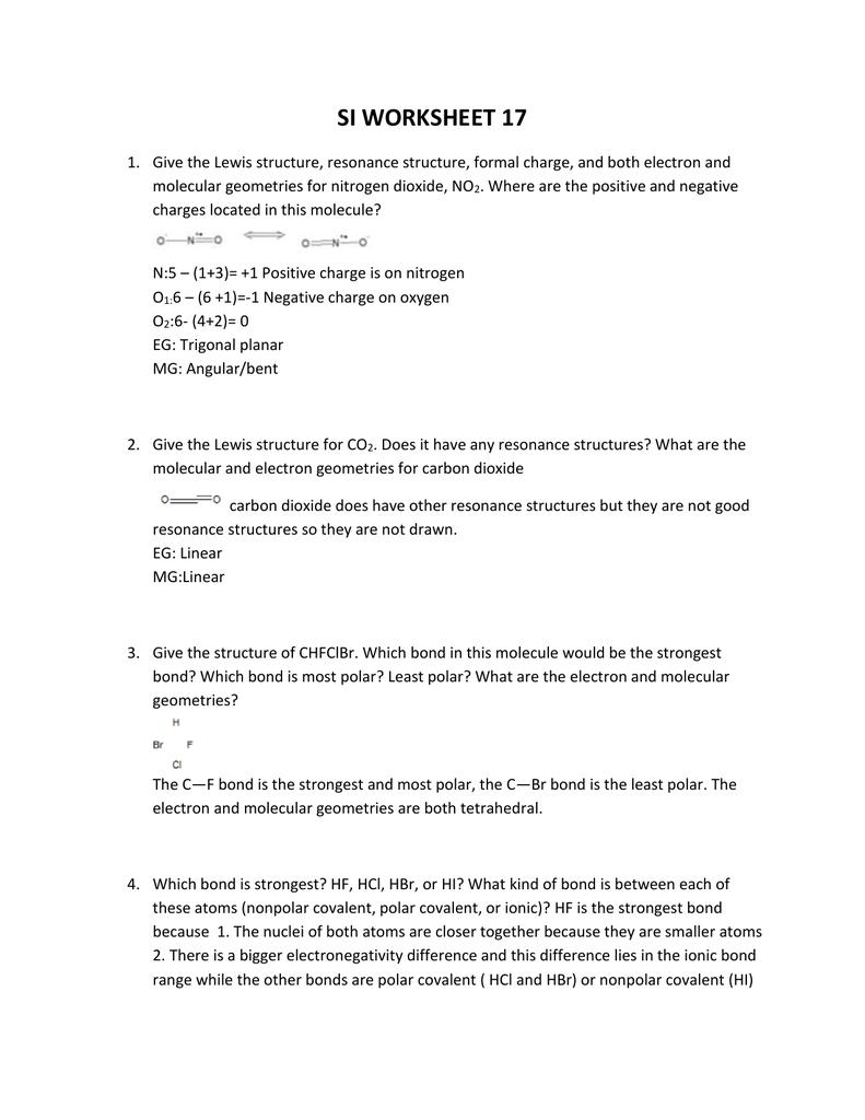 worksheet Formal Charge Worksheet si worksheet 17