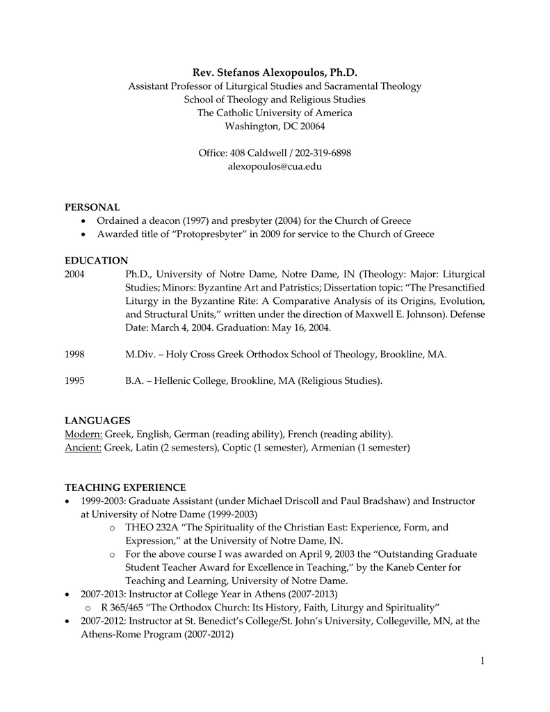 Curriculum Vitae - School of Theology and Religious Studies