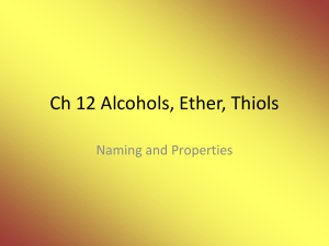 Ch 12 Alcohols and Thiols
