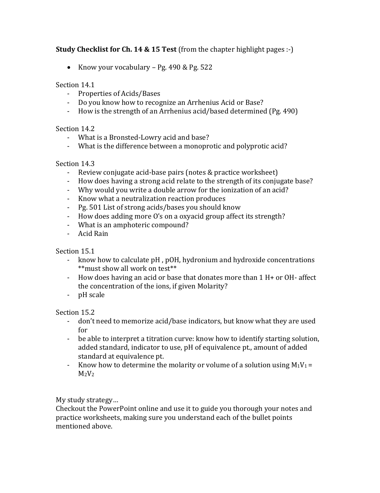 Ch 1415 Checklist – Ph and Acid Rain Worksheet