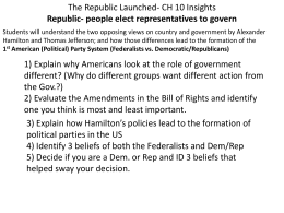 democratic-republicans vs federalists essay