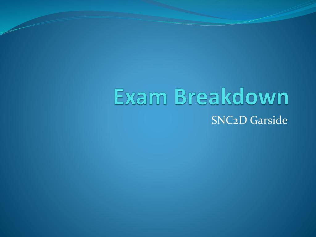 SNC2D Exam Breakdown Garside