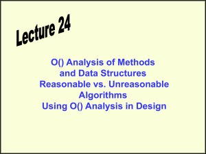 O() Analysis of Methods and Data Structures