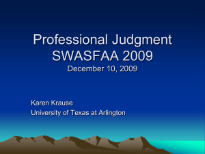 Professional Judgment SWASFAA 2009