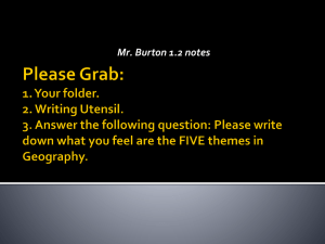 Please write down what you feel are the FIVE themes in Geography.