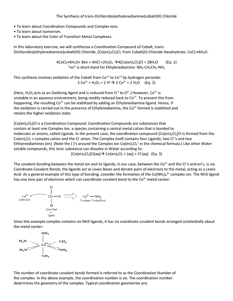 The Synthesis of trans-Dichlorobis(ethylenediamine)cobalt(III