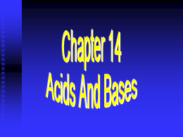Introduction to Acid/Base Chemistry
