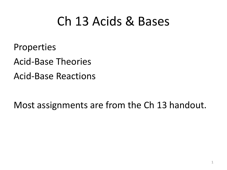 13 ConcChem AcidsBases – Acid Base Reactions Worksheet