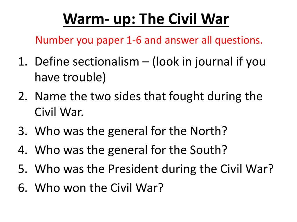 us history essay questions civil war What are the possible exam essay questions related to us history up to civil war update what might have happened if the confederacy had won the american civil war.