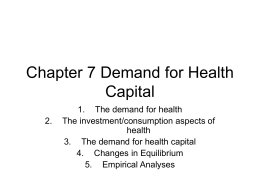 Chapter 7 Demand for Health Capital