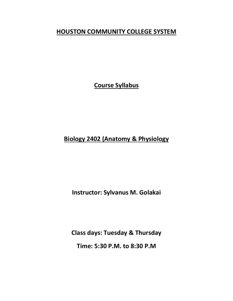 Biology 2402 (Anatomy & Physiology