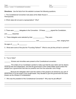 Constitutional Convention Worksheet