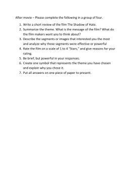 After movie – Please complete the following in a group of four. Write