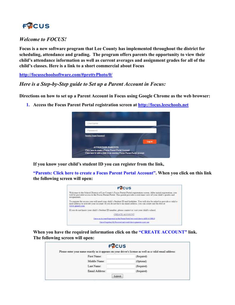 Focus Lee County >> Focus Parent Portal Directions