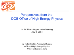 Perspectives from the DOE Office of High Energy Physics Presented
