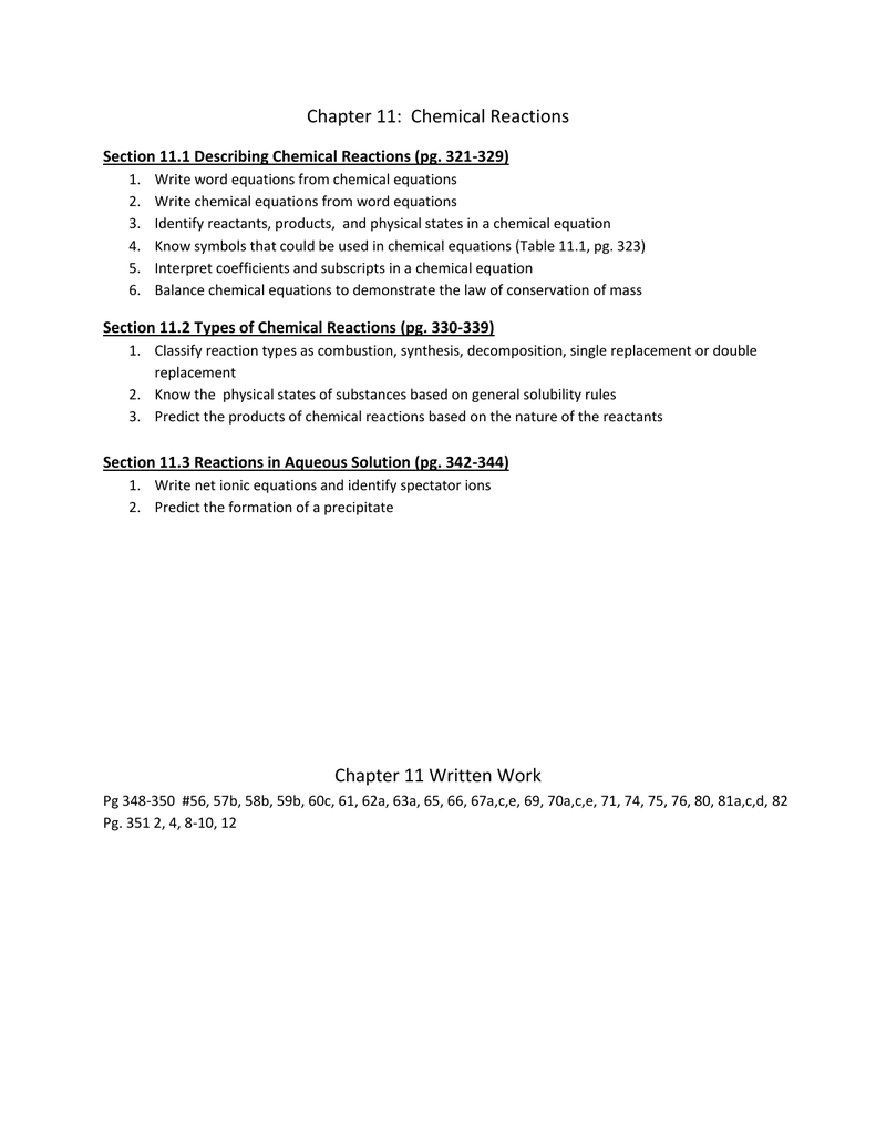 Chapter 11 packet – Predicting the Products of Chemical Reactions Worksheet