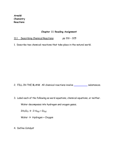 Arnoldi Chemistry Reactions Chapter 11 Reading Assignment 11.1