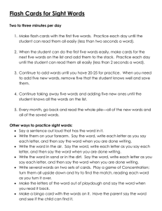 TSI suggestions for parents directions sight words flash cards