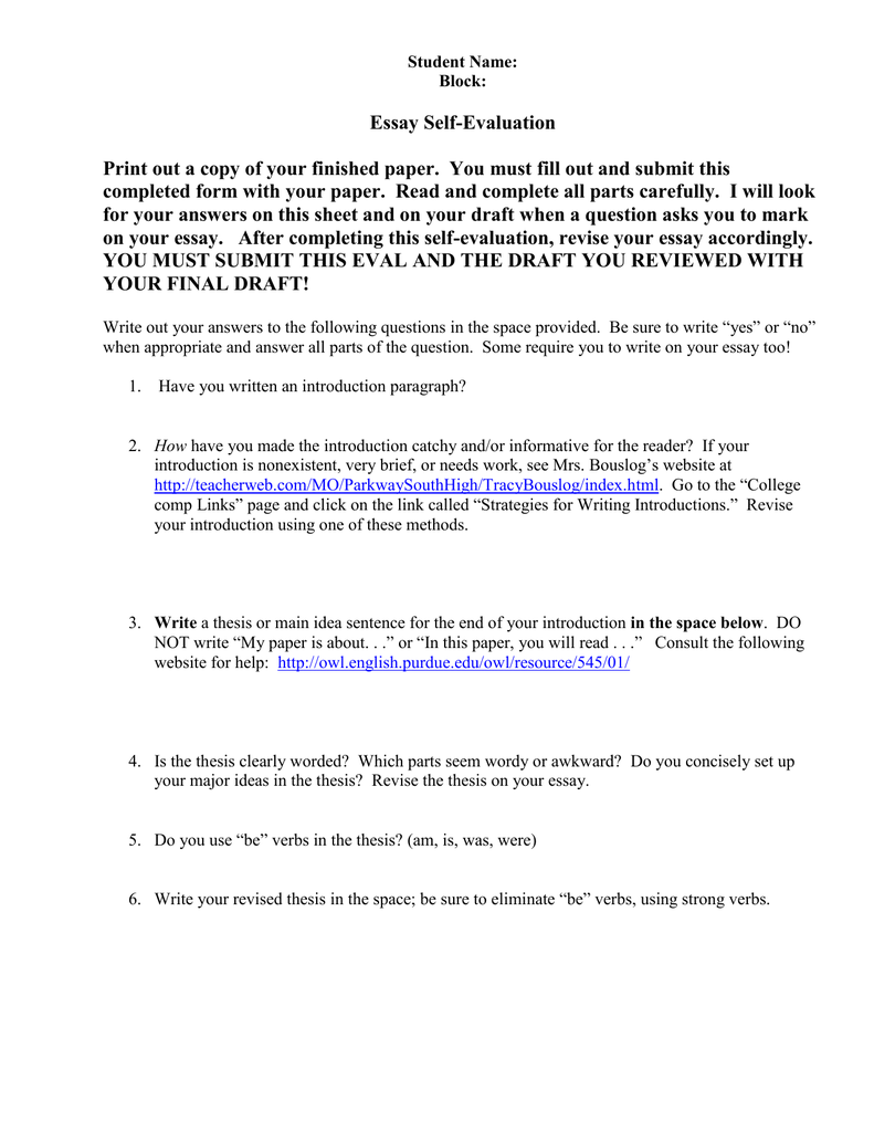 essay self evaluation print out a copy of your