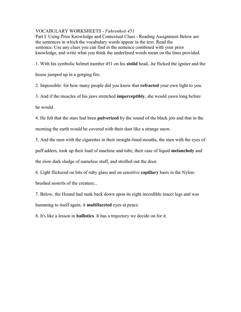 worksheet Ballistics Worksheet vocabulary worksheets fahrenheit 451 part i using prior