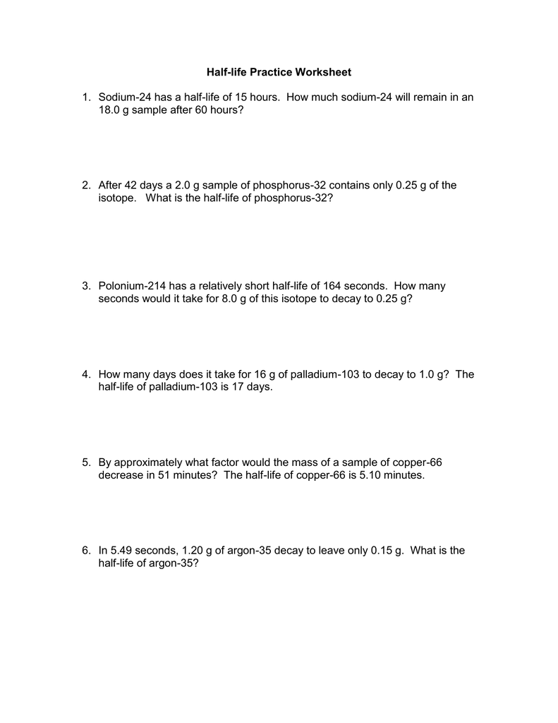{Halflife Practice Worksheet – Half Life Worksheet