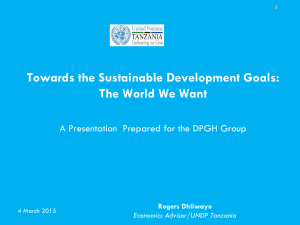 Towards the Sustainable Development Goals