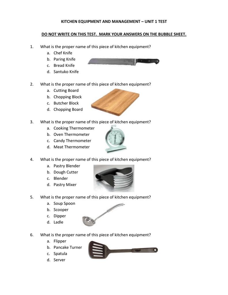 Kitchen Equipment And Management Unit 1 Test Do