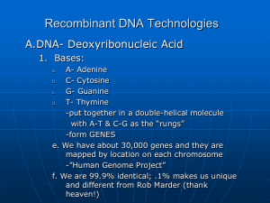 Recombinant DNA Technologies