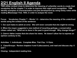 2/21 English II Agenda TSW utilize context clues to determine the