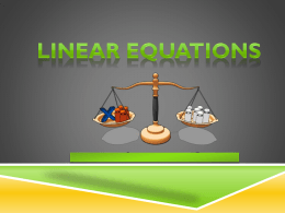 x - Linear Equations