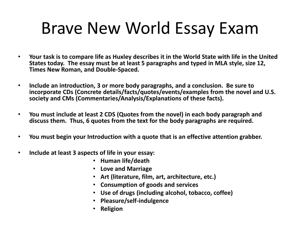 brave new world essay slides