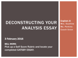 Example Essay Thesis The Great Gatsby Analysis Review And Self Score Essay On Paper also High School Essay The Great Gatsby Essay Test Business Essay Sample