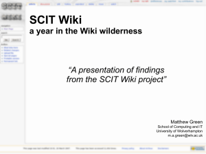 SCIT Wiki A year in the Wiki wilderness