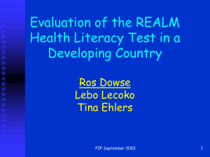 Evaluation of the REALM health literacy test in a developing country.