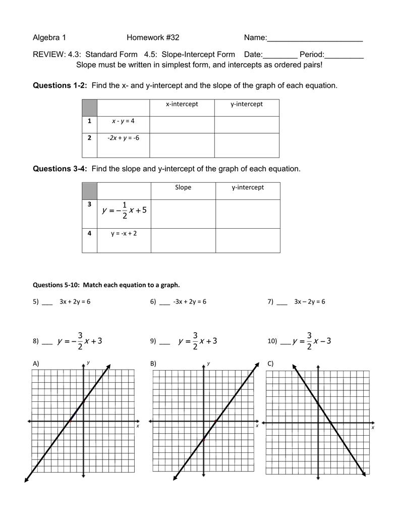 Algebra 1 Homework #32 Name: REVIEW: 4.3: Standard Form 4.5