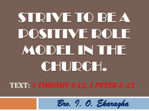 Strive to be a Positive Role Model in the Church.