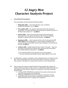 12 Angry Men Character Analysis Project
