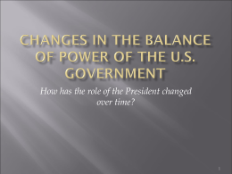 Changes in the Balance of Power of the US Government