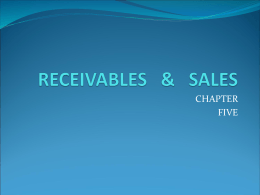 RECEIVABLES & SALES