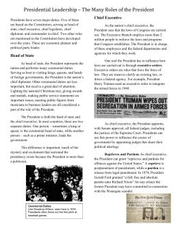 Printables Roles Of The President Worksheet american president worksheet the roles of reading