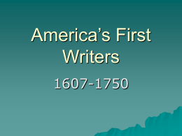 America's First Writers