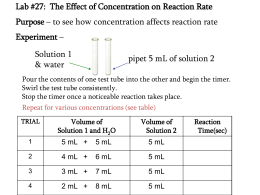 Lab #27: The Effect of Concentration on Reaction Rate Purpose